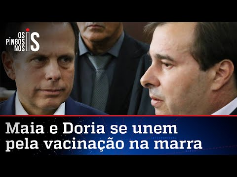 Ao lado de Doria, Maia defende a China